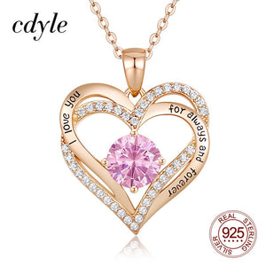 Cdyle 12 Birthstone Heart Pendant Necklace with Top Zircon I love you for always and forever Jewelry for Wife Mom Daughter Gift