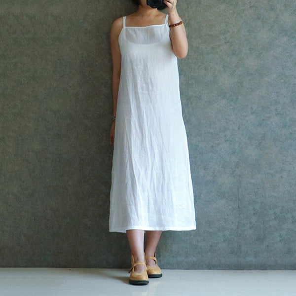 Celmia Women Vintage Cotton White Shirt Dress Sexy Spaghetti Strap Sleeveless Summer Dresses Casual Beach Midi Vestidos 5XL 4XL - thefashionique