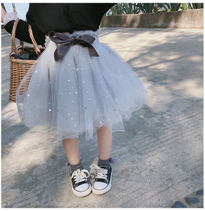Celveroso 2019 Kids Baby Star Glitter Dance Tutu Skirt For Girl Sequin 3 Layers Tulle Toddler Petti skirt Children Chiffon - thefashionique