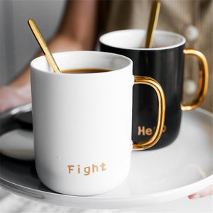 Ceramic Mug Black White With Spoon Lid Office Home Coffee Milk Breakfast Porcelain Mugs Luxury Couple Gift Wedding Decoration - thefashionique