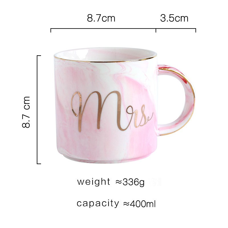 Ceramic Mug Bone China Cup Grey Pink Colors Mr and Mrs Travel Mug Marble Pattern Phnom Penh Tea Milk Cups and Mugs Gifts - thefashionique