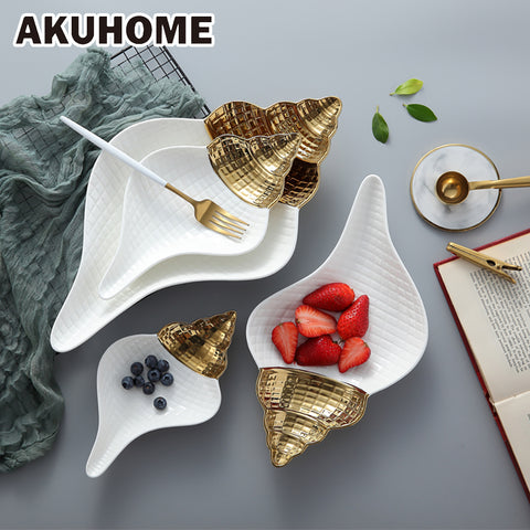 Ceramic Soup Bowl Tableware Conch Type Fruit Plates Dessert Dish Candy Tray Simple and Creative Salad Cutter Bowl Akuhome - thefashionique