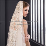Champagne Wedding Veils 2017 Real Images New Style Sequins Appliques One Layer Veils In Stock Luxury 3m Lace Bridal Veil - thefashionique