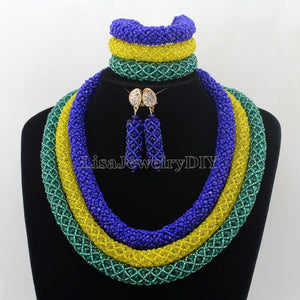 Charming Statement Necklace Nigerian Wedding African Beads Bridal Jewelry Set Crystal Jewelry Set Womens Jewellery Set HD7454