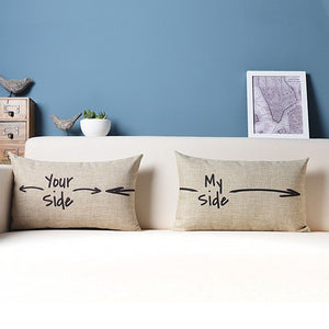 Cheap Quote Letter Your Side My Side Toss Pillow San Valentin 30X50Cm Woven Linen Home Textile Love Waist Lumbar Cushion Cover - thefashionique