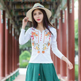 Cheap-clothes-china camisas femininas 2018 women Mexico style ethnic long sleeve stand collar embroidery blouse shirt AF558 - thefashionique