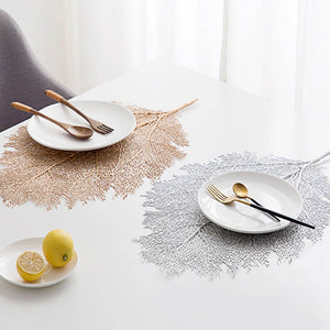 Chic PVC Placemat Coral Leaf Dining Table Mats Cup Mats Pads Gold Silver Heat Resistant Non-slip Table Decoration Kitchen Tool - thefashionique