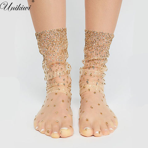 Chic Women's Harajuku Gradient Glitter Dots Socks.Ladies Girl's Transparent Mesh Shiny Dot Fishnet Socks Hosiery Sox.Gold/Sliver