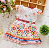 Children Baby girl fashion dress print bead flower kids summer dresses girls princess baby dress free shipping - thefashionique