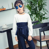 Children Clothing Spring Autumn Patchwork Dress  + Dress Girls Clothing Sets Striped Teen Clothes For Girls 8 10 12 14 Years - thefashionique