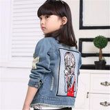 Children Girls Jackets Cool Kid Long Sleeves Turn-down Collar Buttons Coats Pocket Girl Pattern Denim Outerwear Kids Clothes Hot