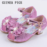 Children Sandals For Girls Weddings Girls Sandals Crystal High Heel Shoes Banquet Pink Gold Blue Gold GUINEA PIGS Brand - thefashionique