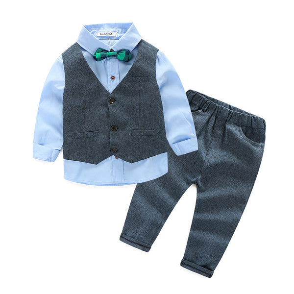 Children clothing gentleman kids clothes shirt+vest+pants and tie party baby boys clothes new boys clothing 3pcs/set - thefashionique