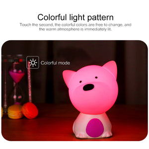 Children's Bedroom Bedside With Silicone Night Light Cute Pets Eye-catching Night Feeding Table Lamp Dropshipping