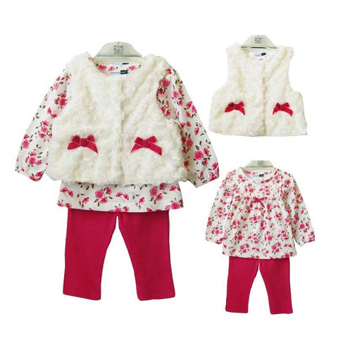 Children's Clothing Baby Girls 3 pcs Set New Fleece Vest+Floral Long Sleeves Shirt+Red Trousers Born Baby Clothing Princess Sets