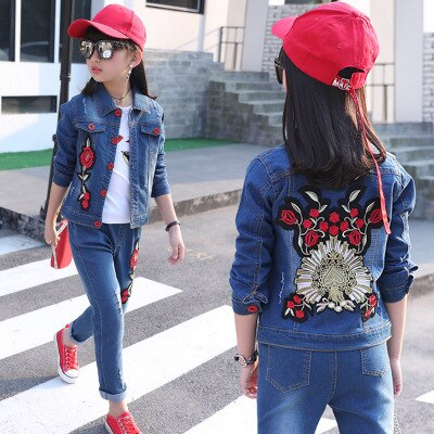 Children's Clothing Boy Girl Spring SuitKorean Children's Denim Suit Two Sets Of Spring And Autumn Children Clothes Tide 2019New - thefashionique
