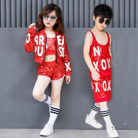 Children sequins jazz Hip-Hop dance competition costume jackets sets tops shorts for girl and boys kids outifits clothes ws229