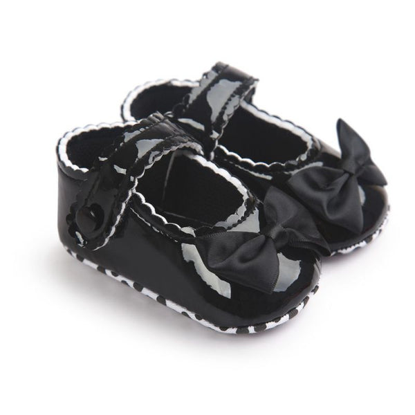 China Infant Baby Girls First Walkers Soft Sole PU Leather Bebe Crib Bow Shoes 0-18 Months Moccasins Baby Shoes - thefashionique