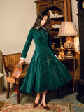 Chinese Style Vintage Embroidery Formal Women Dress Elegant Green Corduroy Turn Down Collar Empire Petal Sleeve Lady Maxi Dress - thefashionique