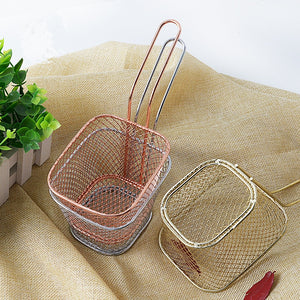Chips Mini Frying Basket Strainer Stainless Steel Basket Sink Strainer Chef Cooking French Fries Colander Kitchen Tool 1PCS - thefashionique