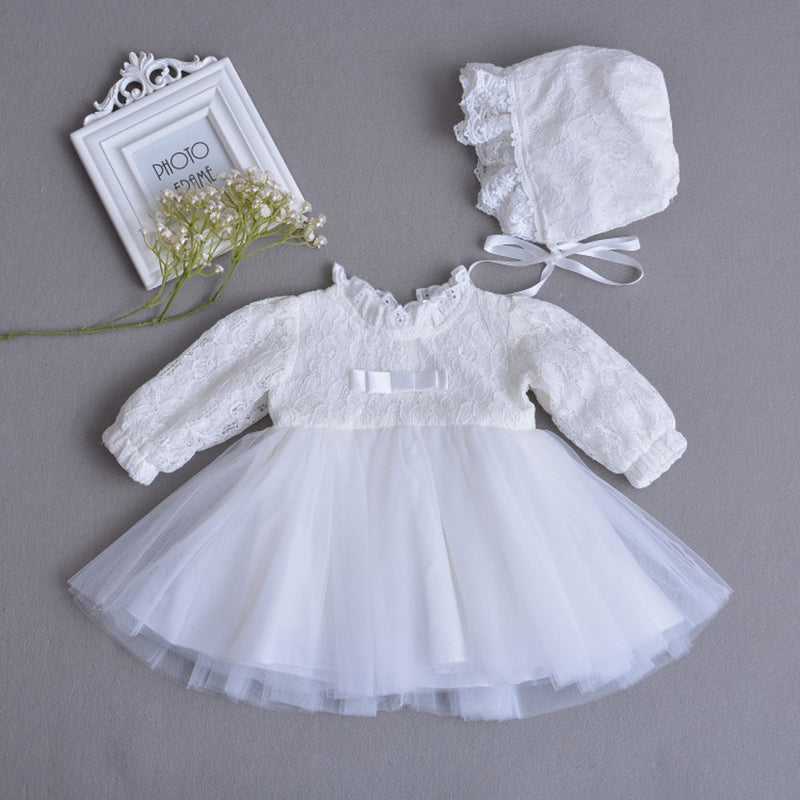 Christening Dress Long Sleeve Tulle Baptism Dresses Set with Bonnet Hat/Crown Newborn Baby Embroidered Outfits A015 Vestidos - thefashionique