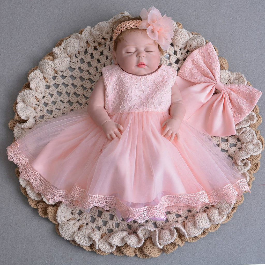 New Baby Christening Party Infant Lace Baptism Occassion Dress pink with bolero