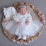 Christening Dress with Bonnet Hat Tulle Dress Long Sleeve Baby Outfits Newborn Baptism Gown A015 0-2Y Baby Lace Frock White - thefashionique
