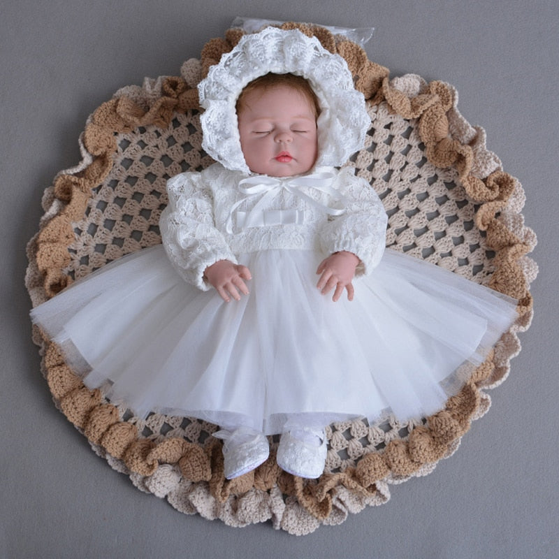 3pcs Set 0-2Y Baby Floral Girls Christening Gown Party Baptism Lace Dress /& Hat