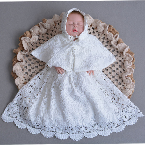 7d1471f844162 Christening Gown Embroidered Baptism Dress with Bonnet Hat/Cape Coat Baby  Long Dress Special Occasion Outfits A015 Lace Robe