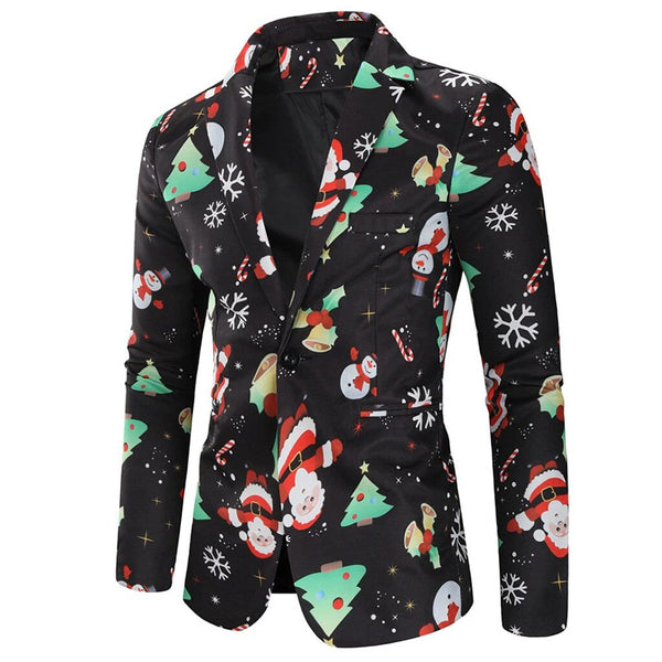 Christmas Clothes Men Blazers Causal printing Santa Claus Dinner Party Suits Blazers Slim fit plus size Snowmen Candy Jackets