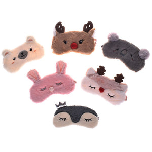 Christmas Deer cute animal eye cover Plush Fabric Sleeping Mask Eyepatch Winter Cartoon nap Eye Shade for Christmas gift - thefashionique