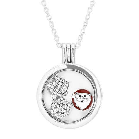 Christmas Gift Medium Floating Locket Silver Pendant and Necklace with Petite Element Pack Charms Silver 925 Original - thefashionique