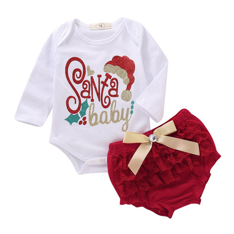 Christmas Newborn Baby Girl Clothes Santa Baby Cotton Bodysuit Tops Tutu Lace Bloomers Shorts 2PCS Outfits Xmas Clothing Set