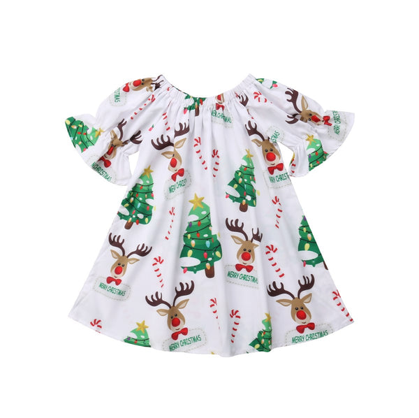 Christmas Newborn Baby Girls Dress Cartoon Deer Short Sleeve Dress Party Festival Xmas Dress For Baby Girls Clothing - thefashionique