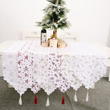 Christmas Ornament Gilded White Table Runner Bronzing Tablecloth Christmas Decorations for Home New Year Party Decor