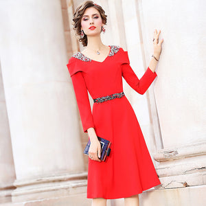 Christmas dress Spring 2019 new Superior quality Women sexy Nail bead Party Dress winter Set in drill sexy Celebrities dresses