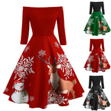 Christmas dress Women sexy Off Shoulder Christmas deer Print Vintage Evening Party Flare mini Dresses vestidos