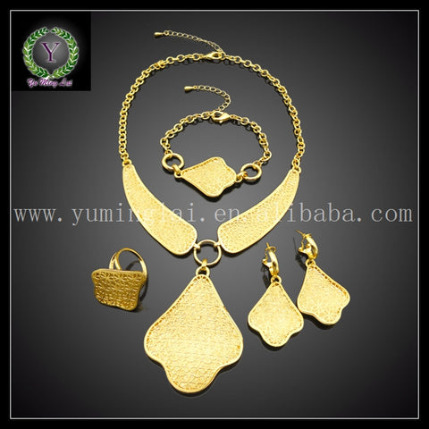 Christmas gift New Arrival  dubai  gold color plate  jewelry sets & more wedding accessories FHK2916 - thefashionique