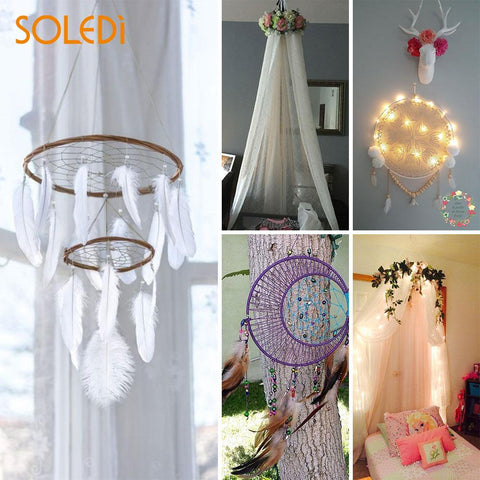 Circle Tent Ring Round Frame Embroidery Hoop Useful Practical 20CM Light Yellow Bamboo Alloy Sewing Art Gadgets Craft DIY
