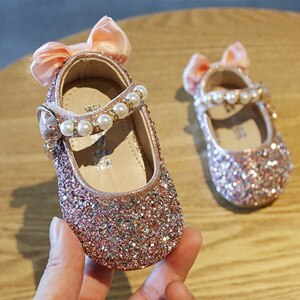 Claladoudou 2020 0-3Y Girls Shoes Pearls Flower Baby Walking Shoes Twinkle Sliver Toddler Shoes For Girls Princess Dress Shoes