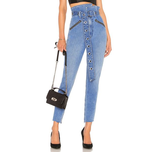 Classic Blue Women Paper Bag Waist  Denim Jeans Push Up Pencil Pants Jeans High Waist with D-ring Belted Metal Zip Front Pockets - thefashionique