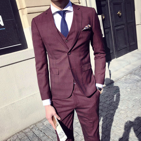 Classic Burgundy Suits Mens Grey Checkered Suits Mens Vintage Costume Mariage Homme Formal Suits For Mens Wedding Dress Slim Fit