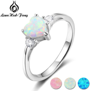 Classic Eternal Heart White Opal Rings for Women Real Pure 925 Sterling Silver Jewelry Engagement Finger Rings (Lam Hub Fong) - thefashionique