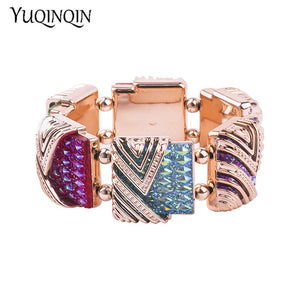 Classic Gold Cuff Bracelets Bangles for Women Fashion New Stretch Geometric Colourful Crystal Bracelet Simple Charm Jewelry - thefashionique