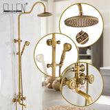Classic Luxury Bathroom Shower Set Rain Bath Shower Mixer with Hand Shower Wall Mounted Rainfall Shower Mixer Taps Retro Style - thefashionique