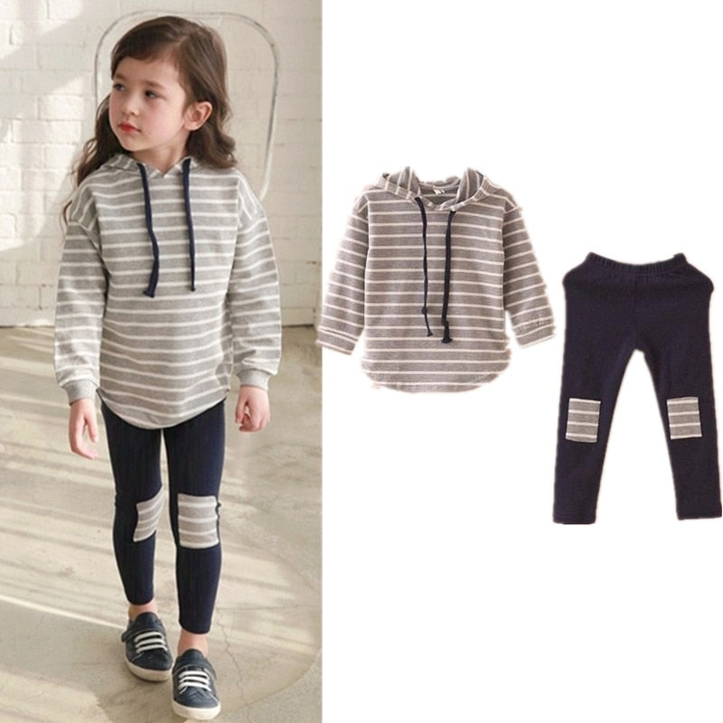 Classic Striped Baby Girl Clothing Set Spring Retail 2Pcs Hooded Sweatshirts+Leggings Pants Girls Clothes Sets Casual Kids Suits - thefashionique