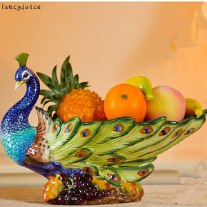 Classical Peacock Fruit Plate European Ceramic Court Styling Grade Pastoral Home Living Room Dining Decoration Authentic - thefashionique