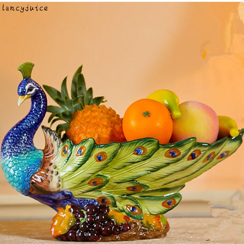 Classical Peacock Fruit Plate European Ceramic Court Styling Grade Pastoral Home Living Room Dining Decoration Authentic