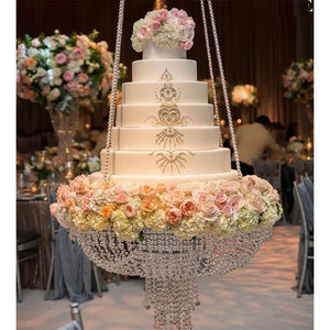 Clear crystal chandelier style Wedding party cake swing wedding arch wedding decoration cake swing acrylic cake swing cake stand