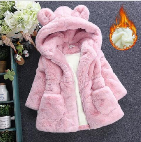 Cold Winter Baby Girls Clothes Faux Fur infant Coat Rabbit Ears Warm kids Jacket Xmas Snowsuit Outerwear enfant children - thefashionique